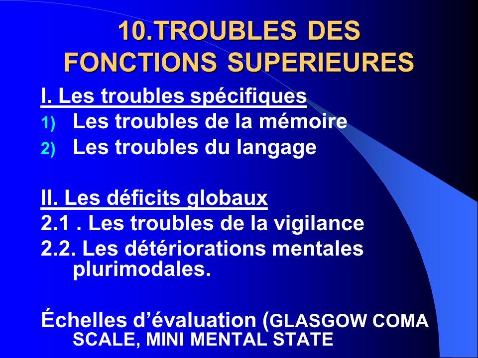 10.TROUBLES DES FONCTIONS SUPERIEURES