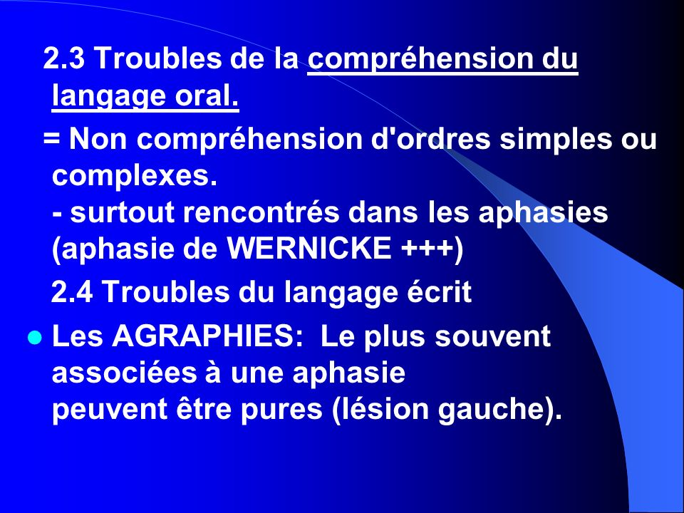 2.3 Troubles de la compréhension du langage oral.