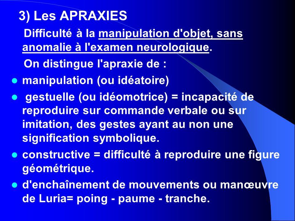 3) Les APRAXIES Difficulté à la manipulation d objet, sans anomalie à l examen neurologique. On distingue l apraxie de :