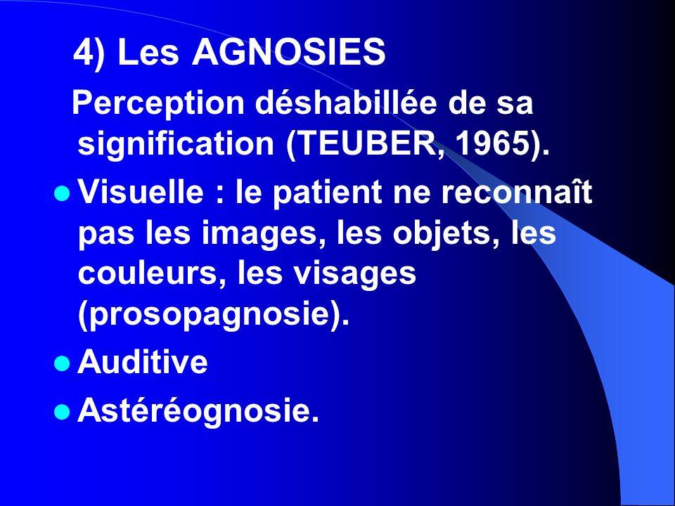 4) Les AGNOSIES Perception déshabillée de sa signification (TEUBER, 1965).