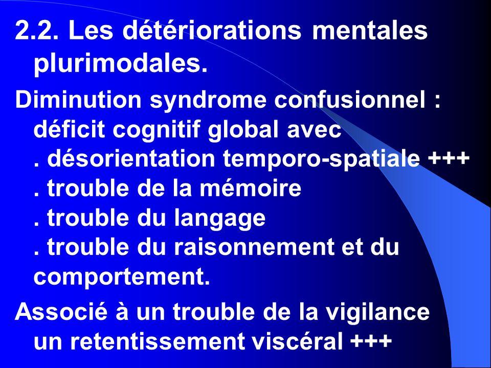 2.2. Les détériorations mentales plurimodales.