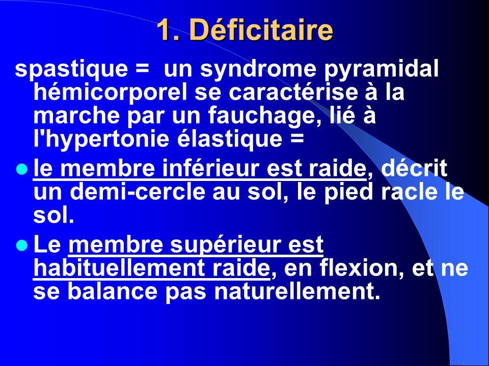 1. Déficitaire spastique = un syndrome pyramidal hémicorporel se caractérise à la marche par un fauchage, lié à l hypertonie élastique =