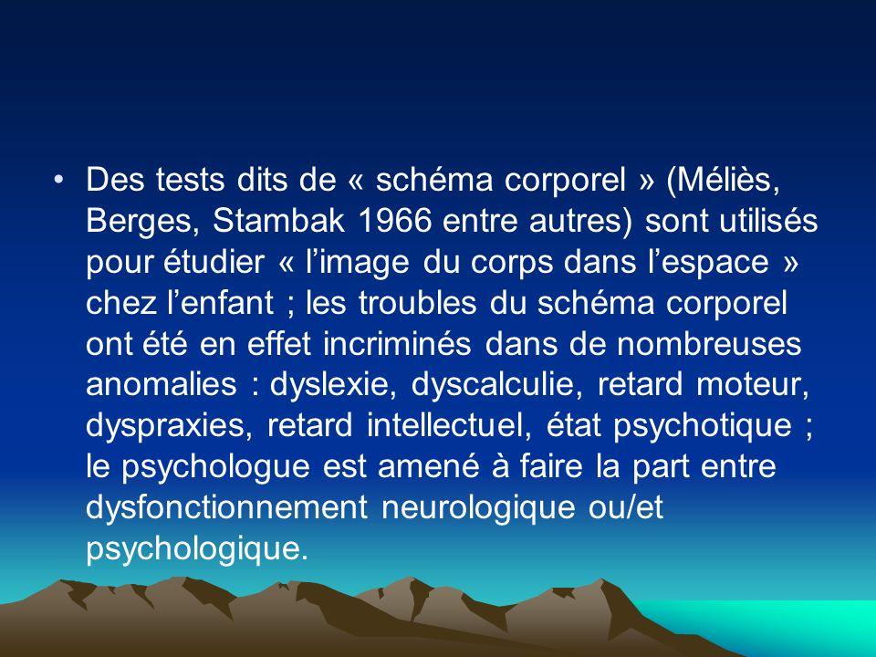 Des tests dits de « schéma corporel » (Méliès, Berges, Stambak 1966 entre autres) sont utilisés pour étudier « l'image du corps dans l'espace » chez l'enfant ; les troubles du schéma corporel ont été en effet incriminés dans de nombreuses anomalies : dyslexie, dyscalculie, retard moteur, dyspraxies, retard intellectuel, état psychotique ; le psychologue est amené à faire la part entre dysfonctionnement neurologique ou/et psychologique.