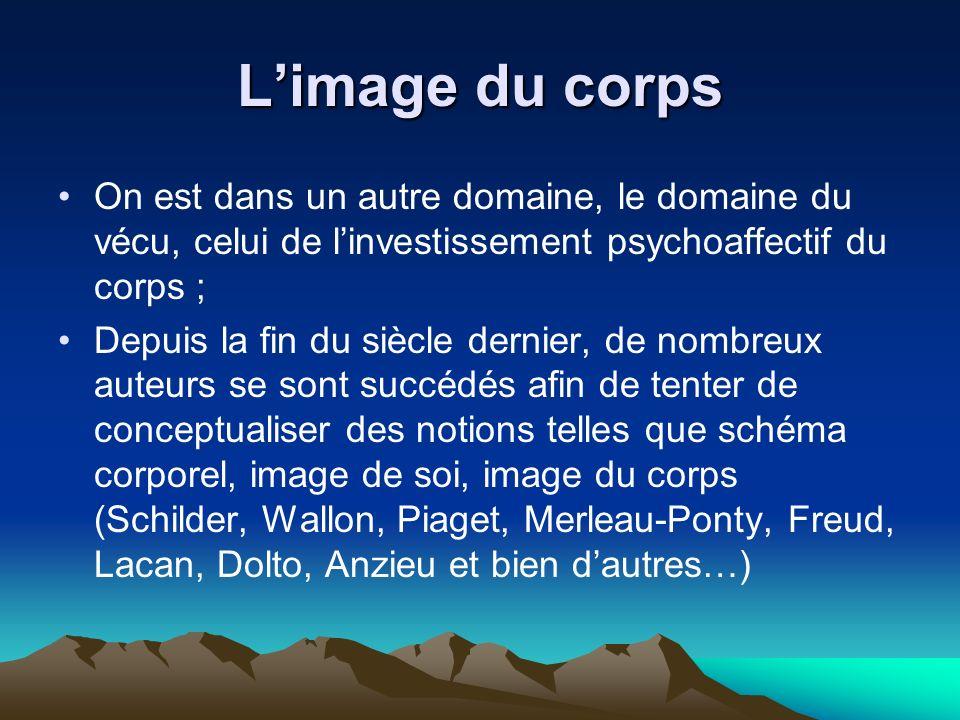 L'image du corps On est dans un autre domaine, le domaine du vécu, celui de l'investissement psychoaffectif du corps ;