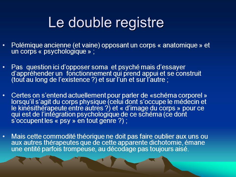 Le double registre Polémique ancienne (et vaine) opposant un corps « anatomique » et un corps « psychologique » ;