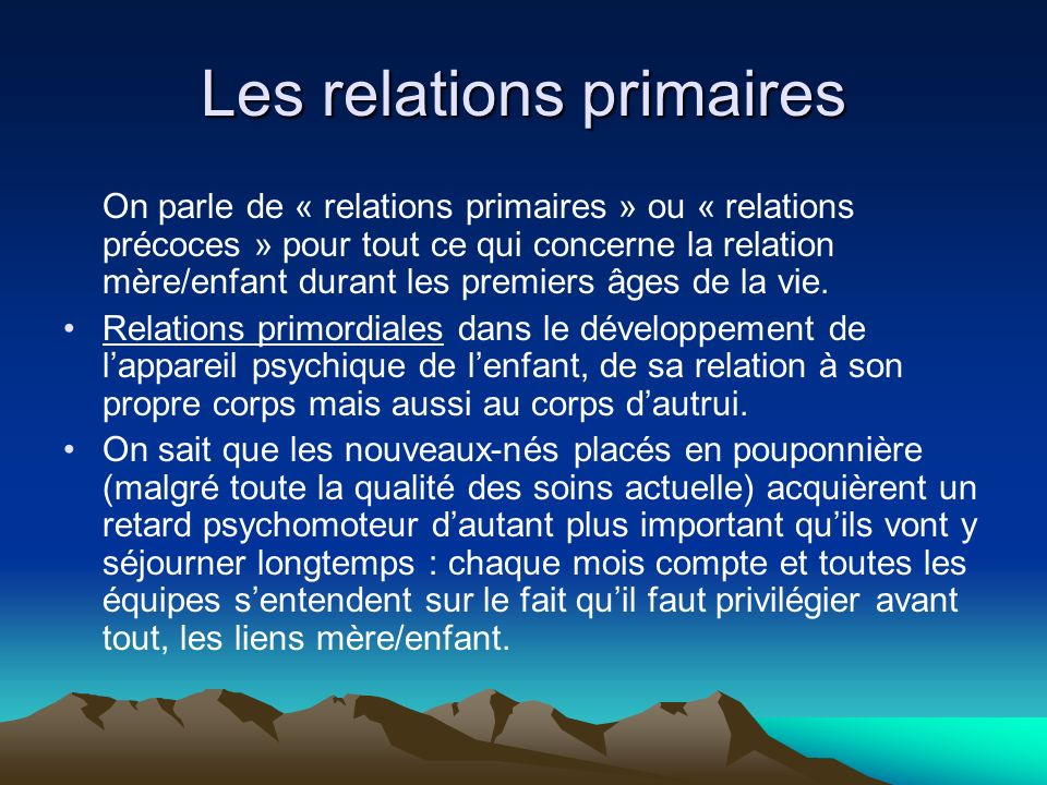 Les relations primaires