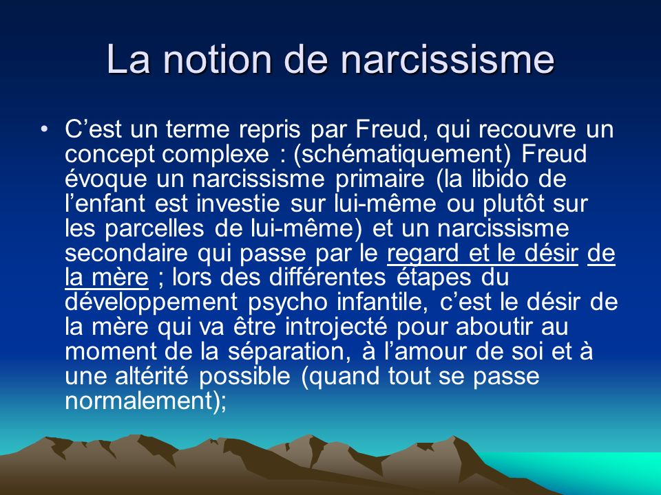 La notion de narcissisme