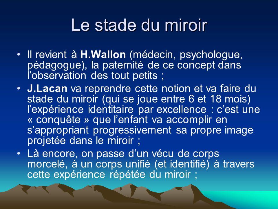 Le stade du miroir Il revient à H.Wallon (médecin, psychologue, pédagogue), la paternité de ce concept dans l'observation des tout petits ;