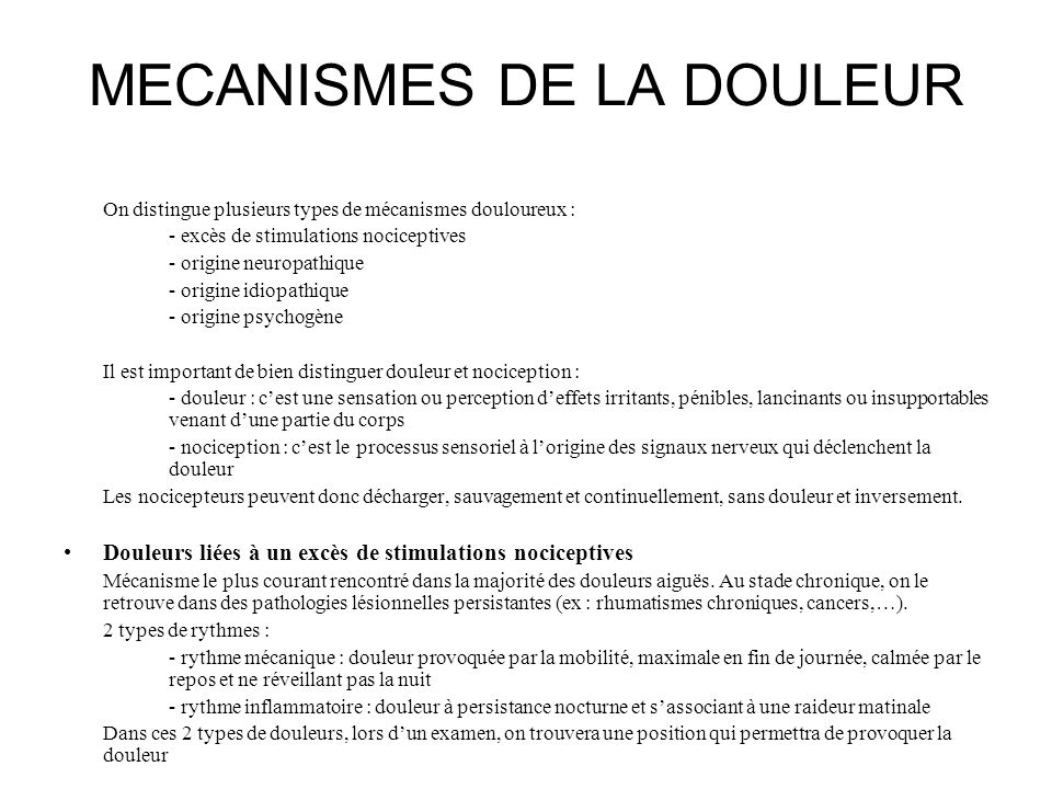 MECANISMES DE LA DOULEUR