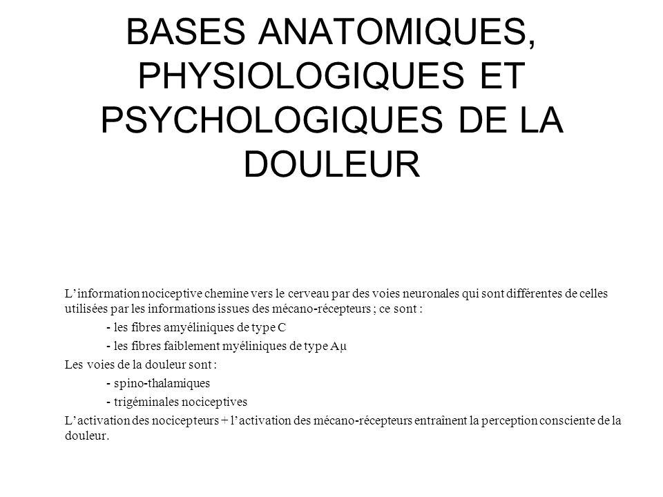 BASES ANATOMIQUES, PHYSIOLOGIQUES ET PSYCHOLOGIQUES DE LA DOULEUR