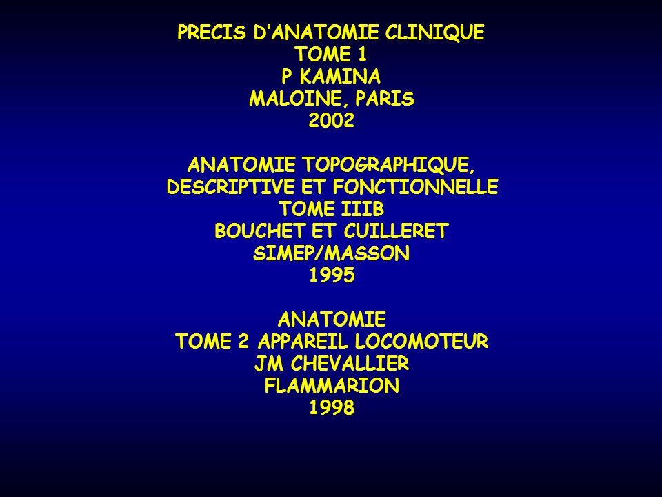 PRECIS D'ANATOMIE CLINIQUE TOME 1 P KAMINA MALOINE, PARIS 2002