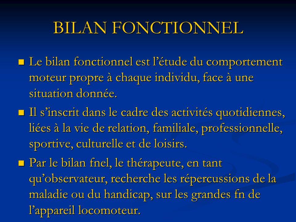 BILAN FONCTIONNEL Le bilan fonctionnel est l'étude du comportement moteur propre à chaque individu, face à une situation donnée.