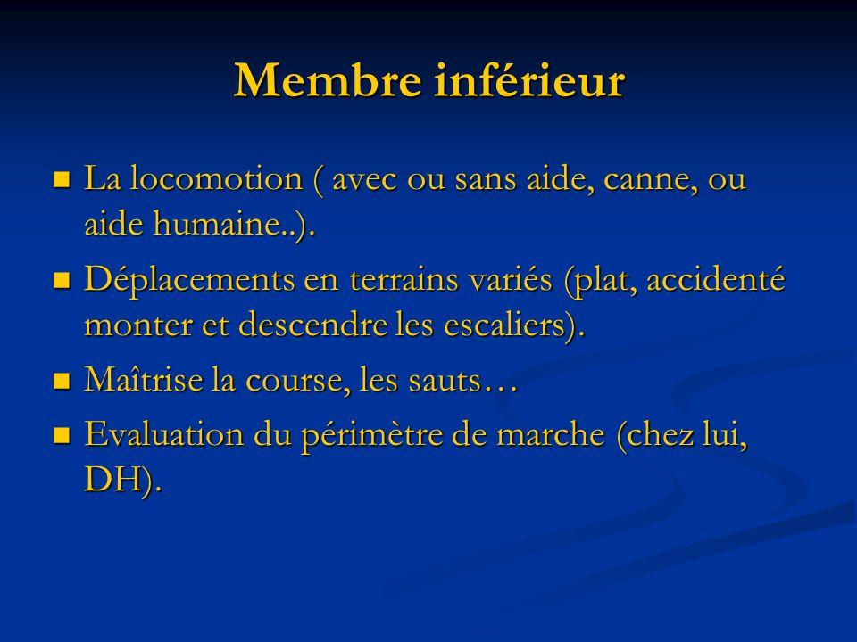 Membre inférieur La locomotion ( avec ou sans aide, canne, ou aide humaine..).