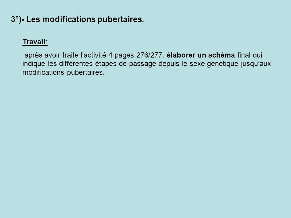 3°)- Les modifications pubertaires.
