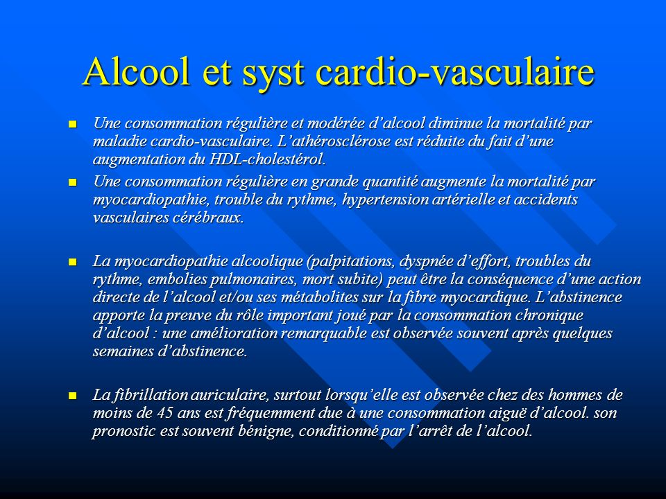 Alcool et syst cardio-vasculaire