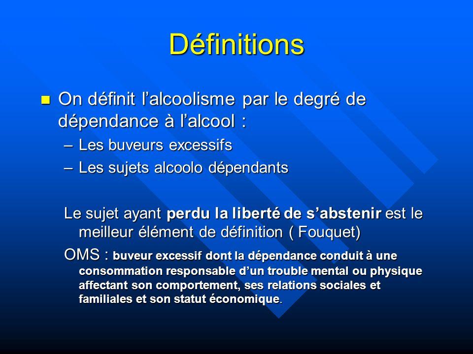 Définitions On définit l'alcoolisme par le degré de dépendance à l'alcool : Les buveurs excessifs.