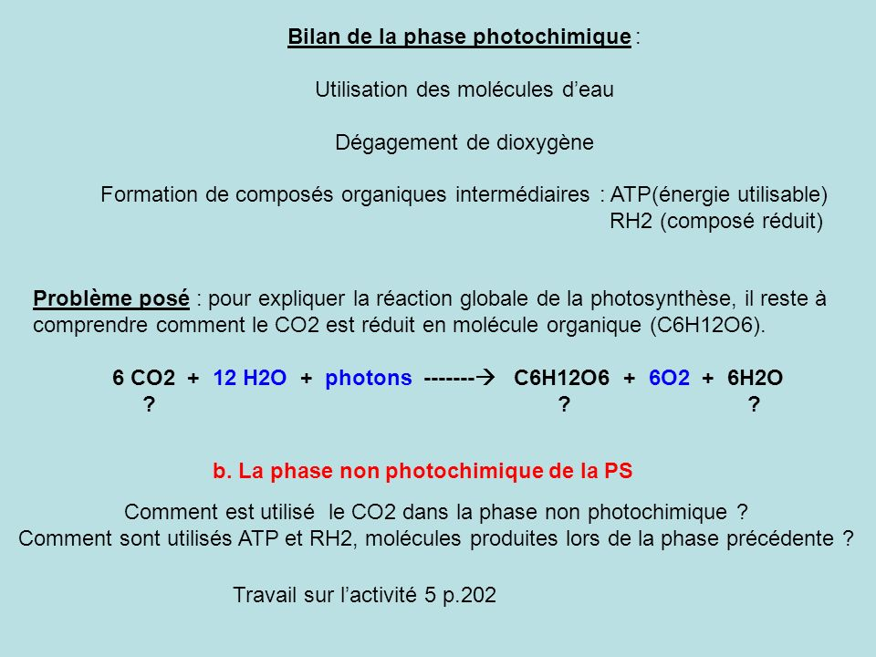 Bilan de la phase photochimique : Utilisation des molécules d'eau