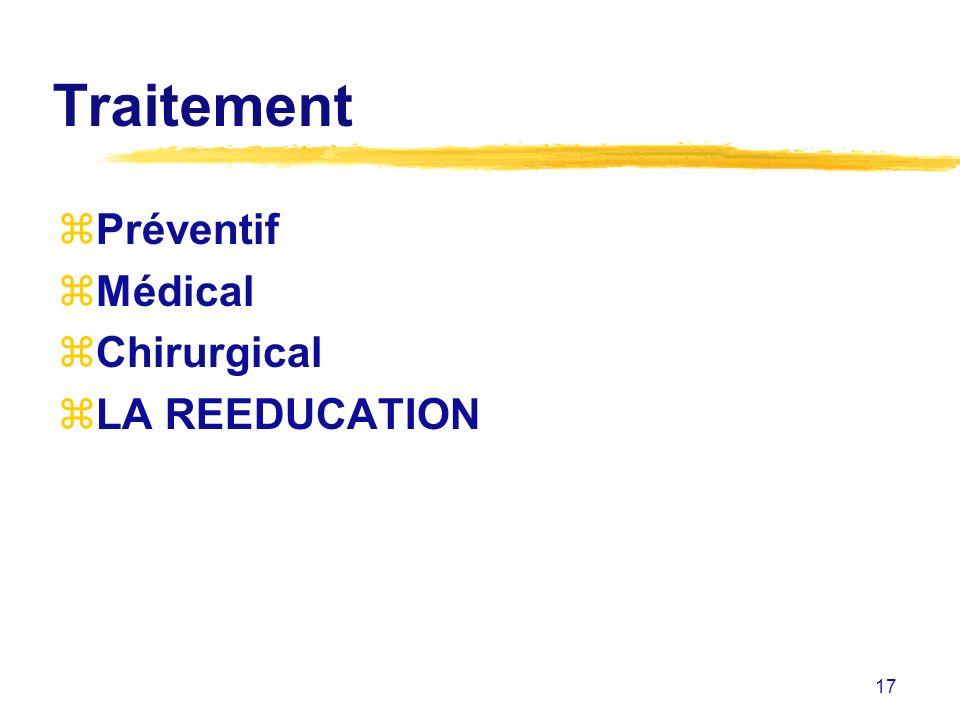 Traitement Préventif Médical Chirurgical LA REEDUCATION
