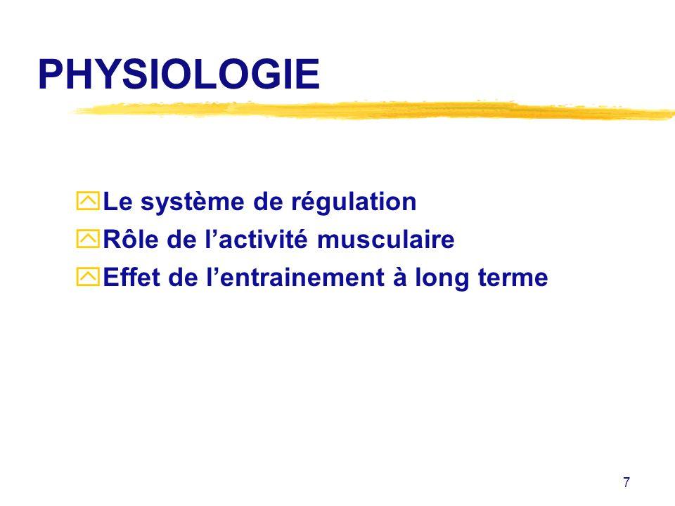 PHYSIOLOGIE Le système de régulation Rôle de l'activité musculaire