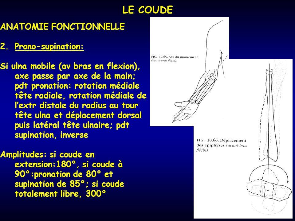 LE COUDE ANATOMIE FONCTIONNELLE Prono-supination: