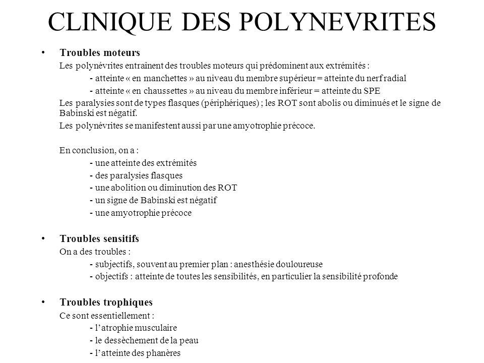 CLINIQUE DES POLYNEVRITES