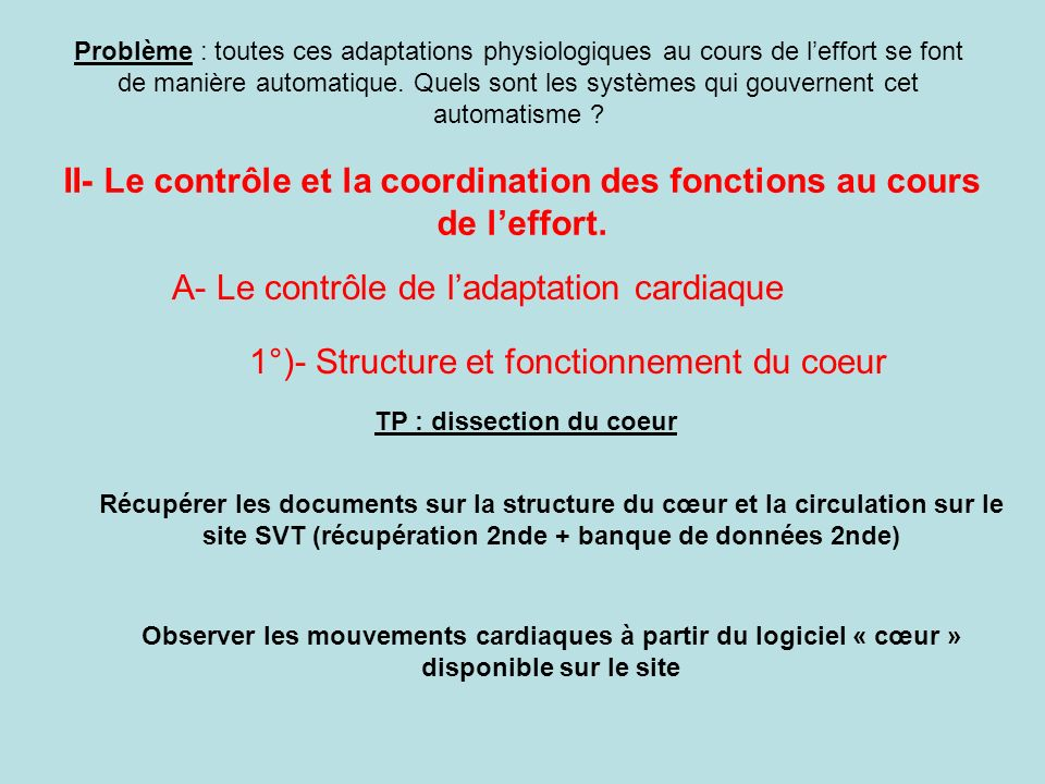 II- Le contrôle et la coordination des fonctions au cours de l'effort.