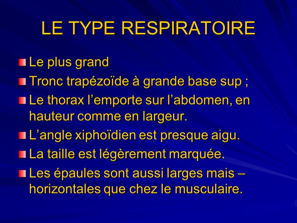 LE TYPE RESPIRATOIRE Le plus grand