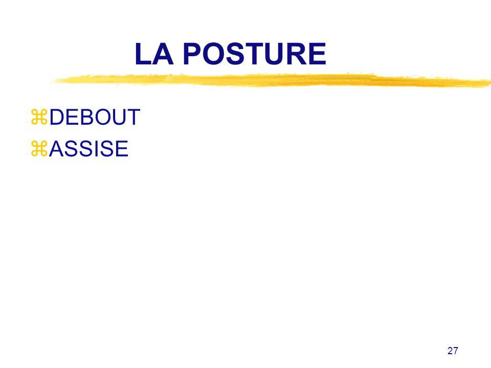 LA POSTURE DEBOUT ASSISE