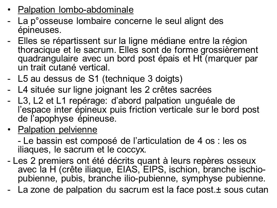 Palpation lombo-abdominale