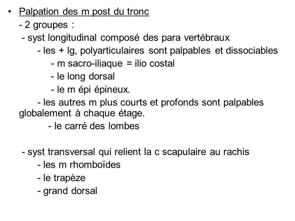 Palpation des m post du tronc
