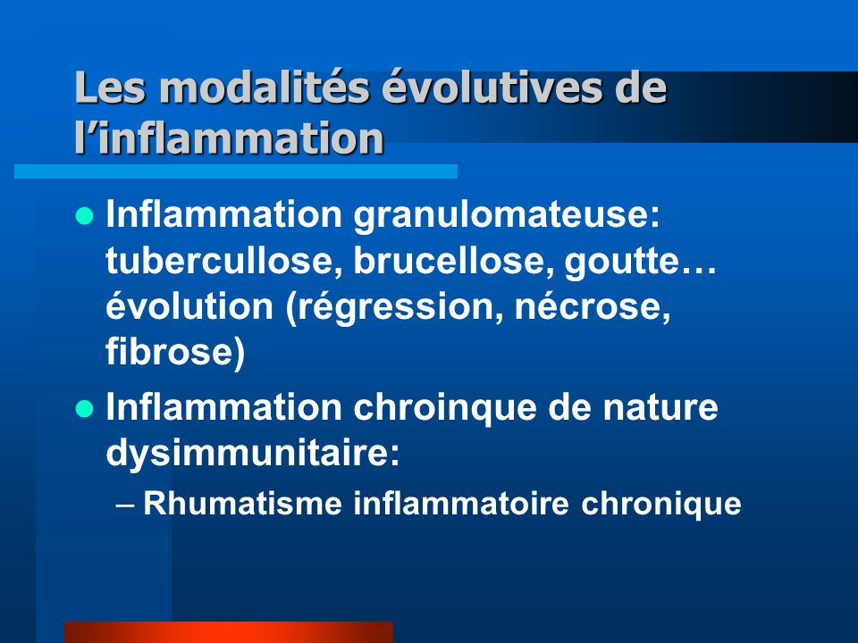 Les modalités évolutives de l'inflammation