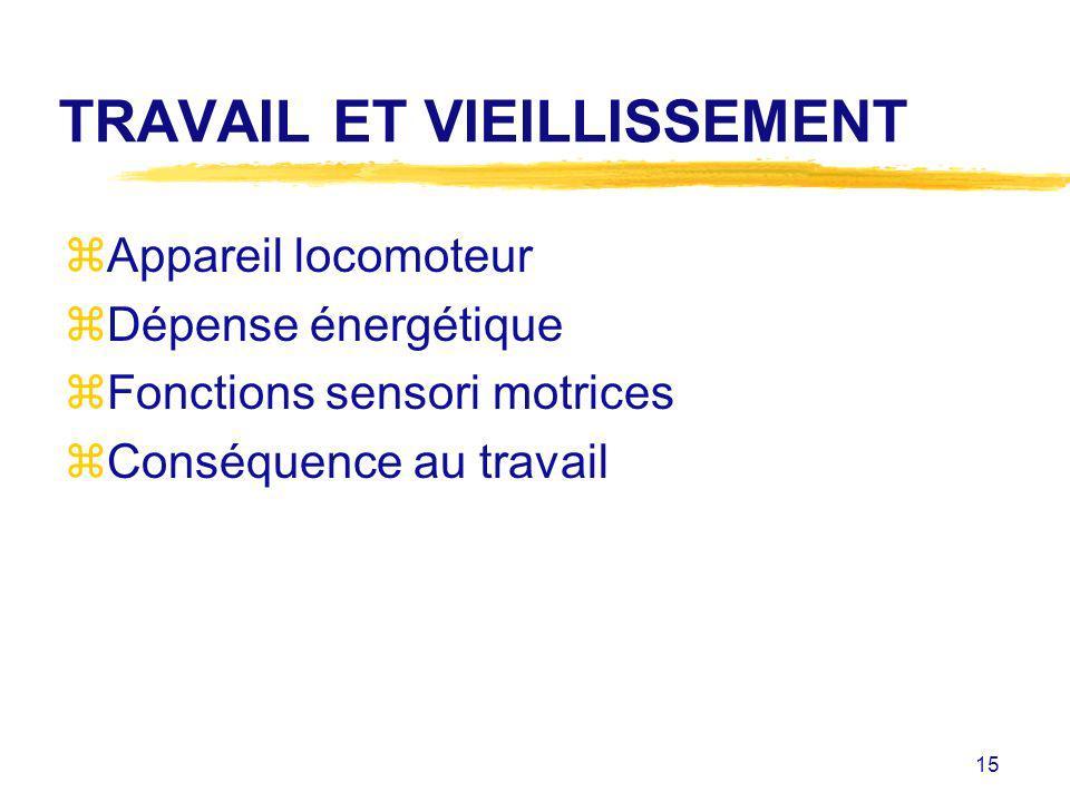 TRAVAIL ET VIEILLISSEMENT
