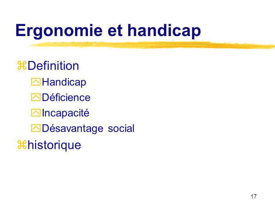 Ergonomie et handicap Definition historique Handicap Déficience