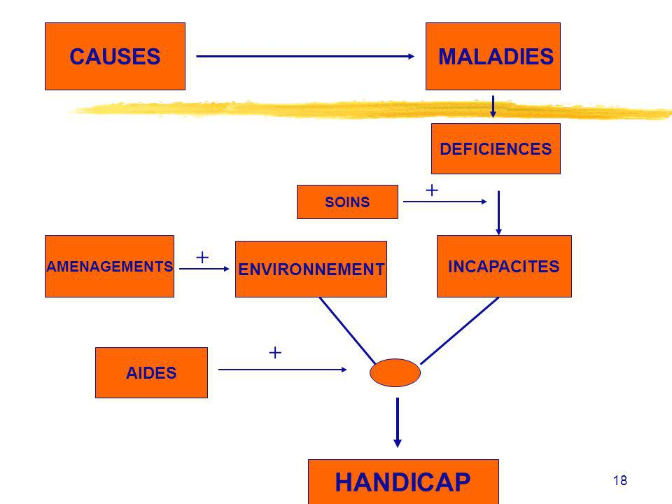 HANDICAP CAUSES MALADIES + + + DEFICIENCES INCAPACITES ENVIRONNEMENT