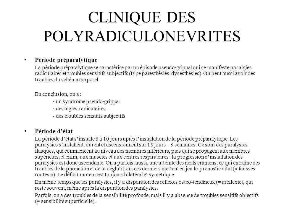 CLINIQUE DES POLYRADICULONEVRITES