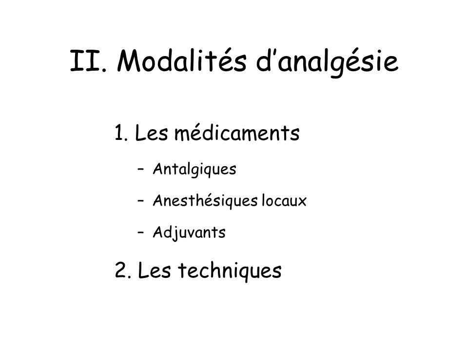 II. Modalités d'analgésie