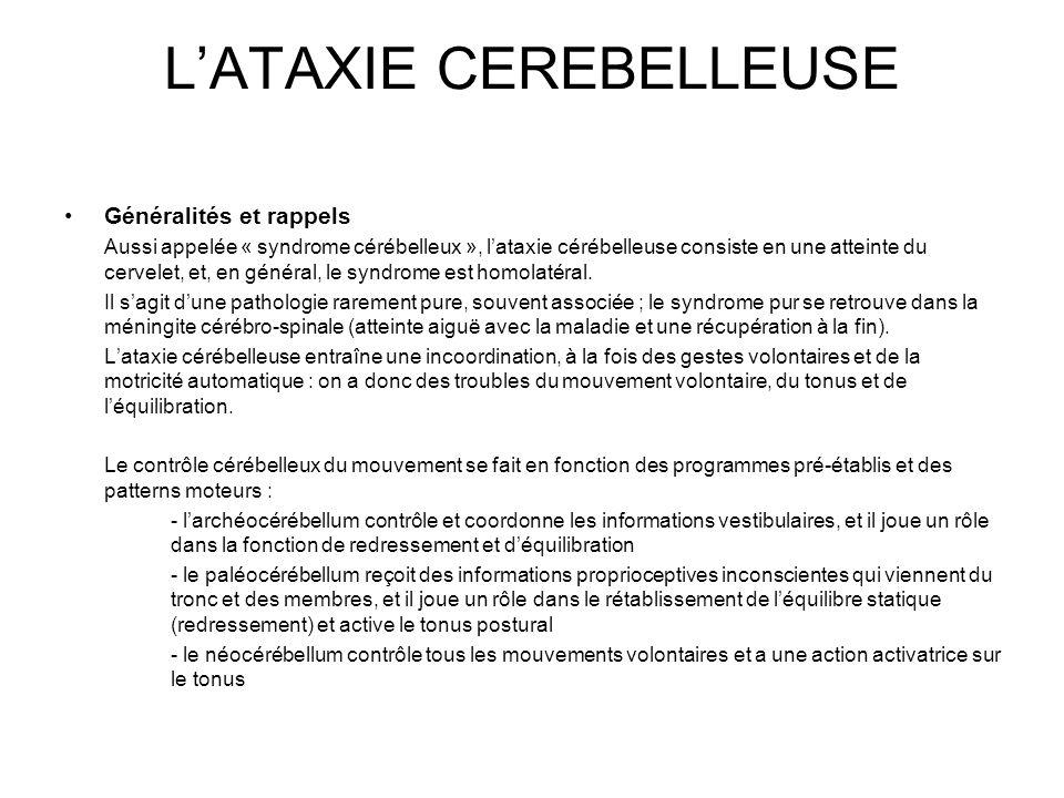 L'ATAXIE CEREBELLEUSE