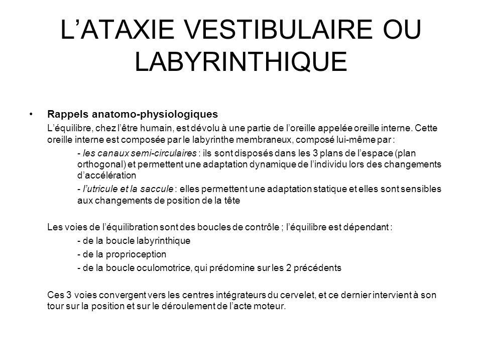 L'ATAXIE VESTIBULAIRE OU LABYRINTHIQUE