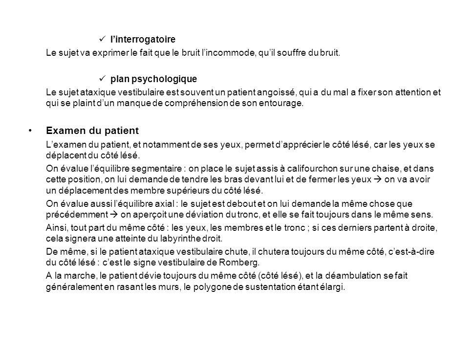 Examen du patient l'interrogatoire