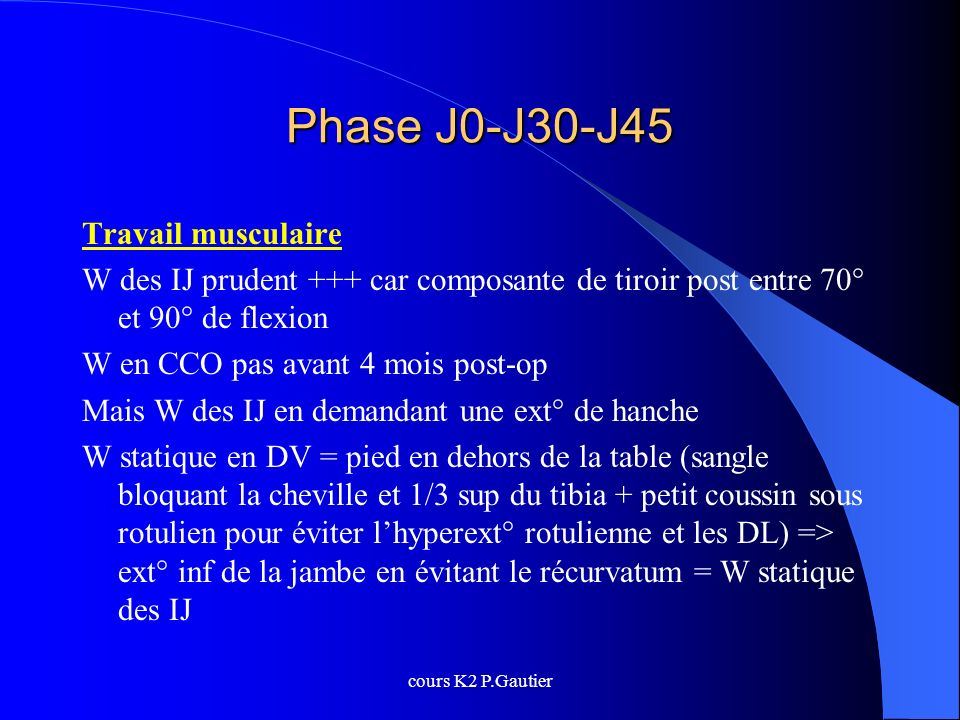 Phase J0-J30-J45 Travail musculaire
