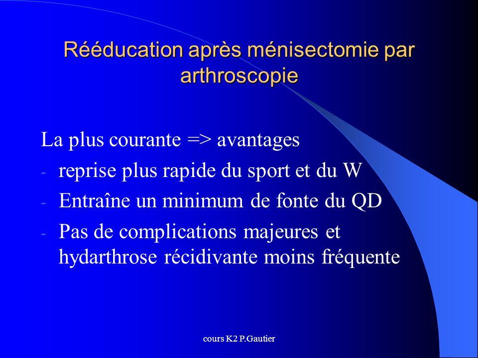 Rééducation après ménisectomie par arthroscopie