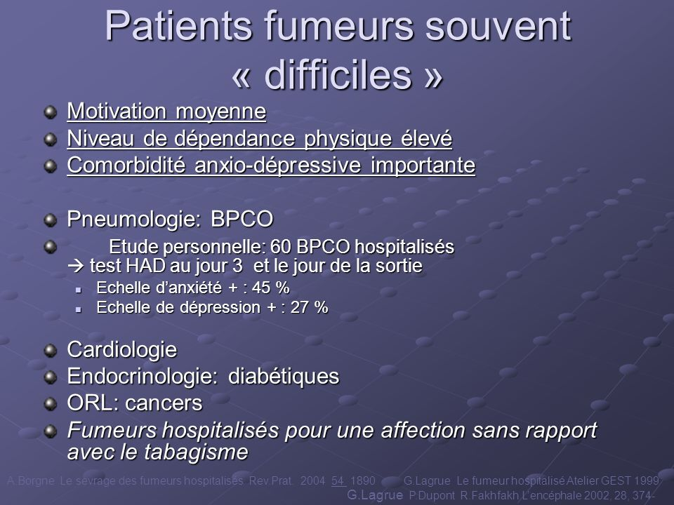 Patients fumeurs souvent « difficiles »