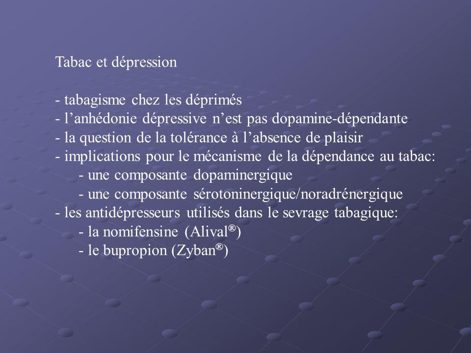 Tabac et dépression tabagisme chez les déprimés. l'anhédonie dépressive n'est pas dopamine-dépendante.