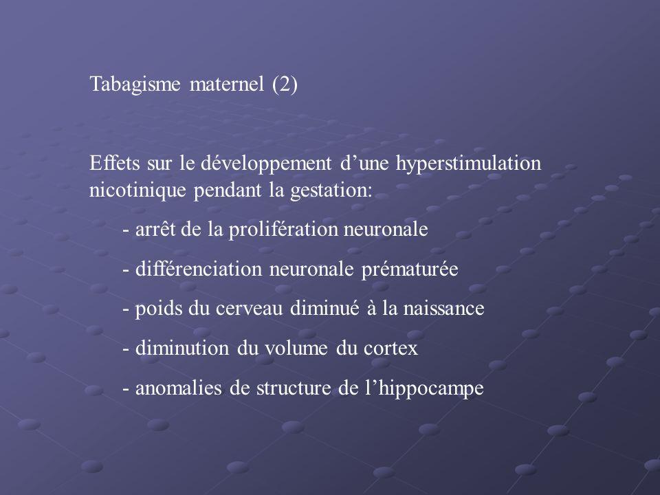 Tabagisme maternel (2) Effets sur le développement d'une hyperstimulation nicotinique pendant la gestation: