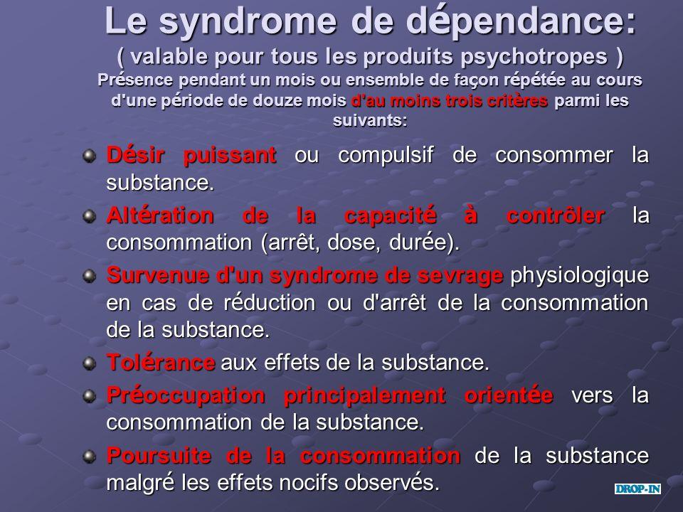 Le syndrome de dépendance: ( valable pour tous les produits psychotropes ) Présence pendant un mois ou ensemble de façon répétée au cours d une période de douze mois d au moins trois critères parmi les suivants: