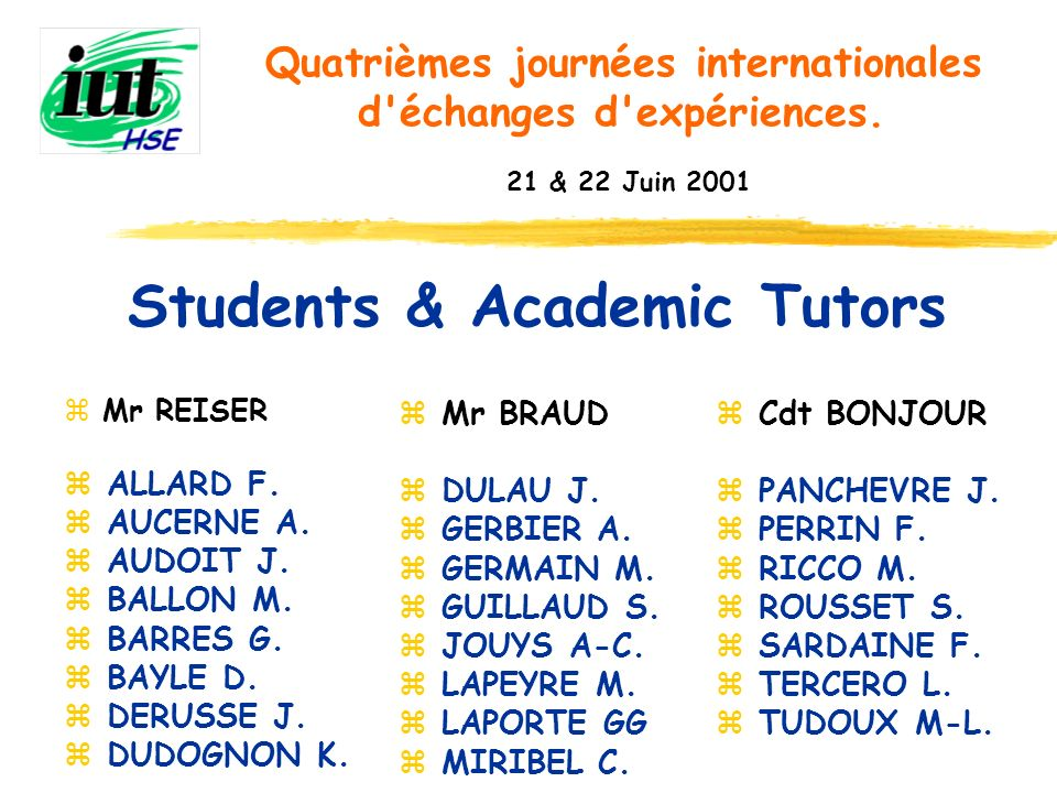 Students & Academic Tutors