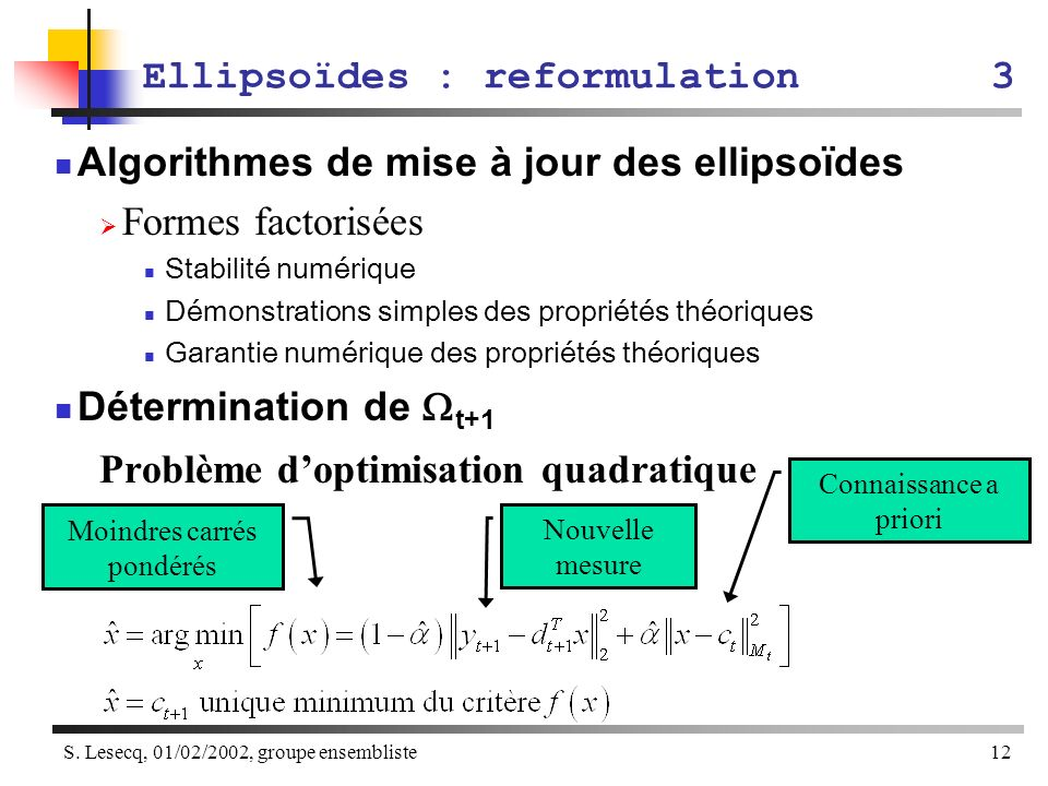 Ellipsoïdes : reformulation 3