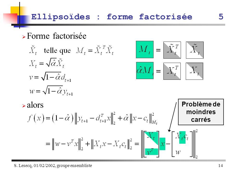 Ellipsoïdes : forme factorisée 5