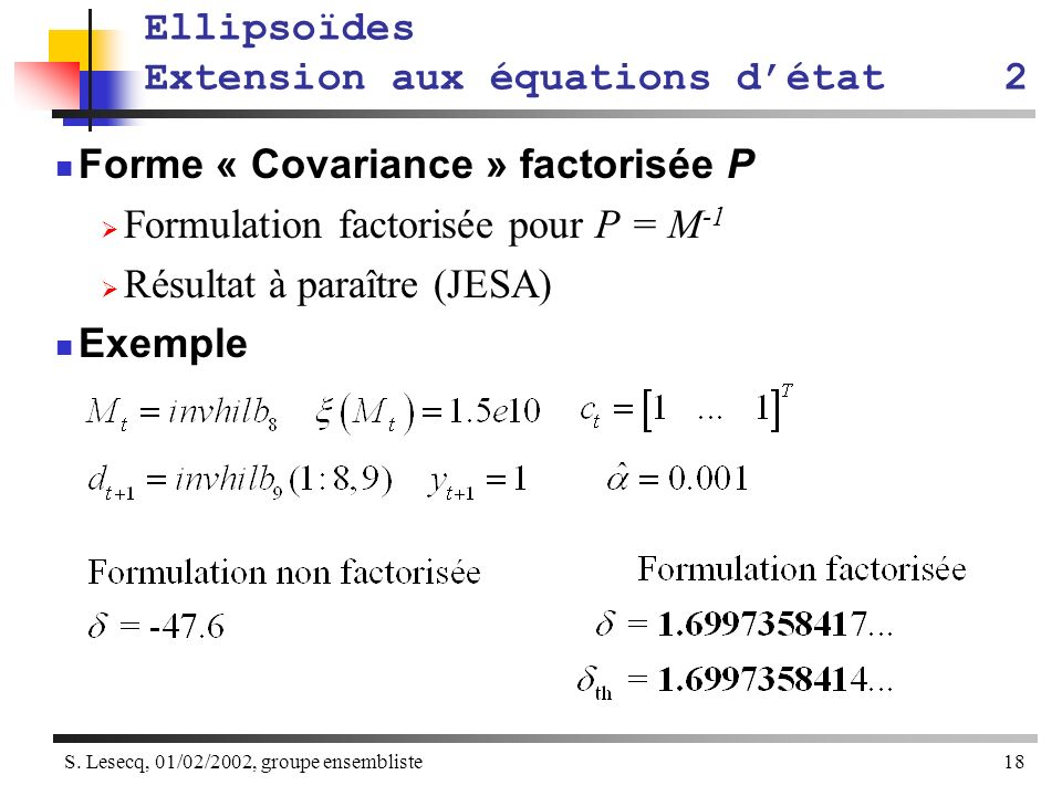 Ellipsoïdes Extension aux équations d'état 2