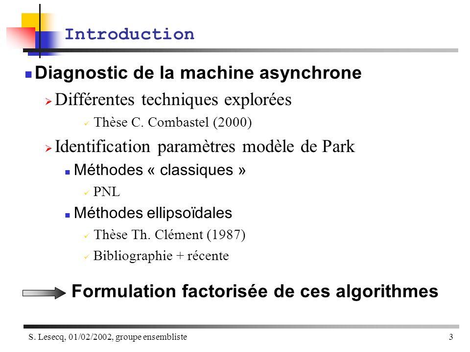 Diagnostic de la machine asynchrone Différentes techniques explorées